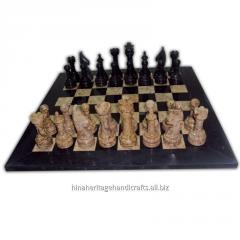 Black & Coral Marble Chess Set