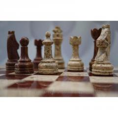 Coral & Red Onyx Stone Chess Set