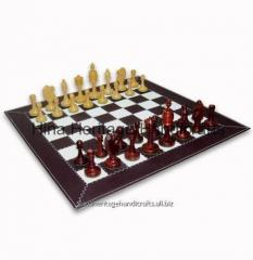 Brown & White Leather Chess Board With Box Wood Chess Pieces