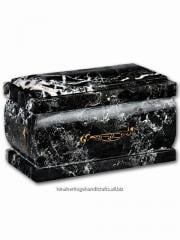 Coffin Cremation Urn Black Zebra Marble