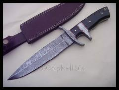 Handmade Forged Damascus Steel Hunting Knife Survival Fixed With Leather Sheath