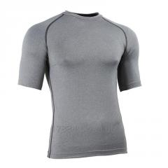 Men short sleeve tight fitted plain blank fitness