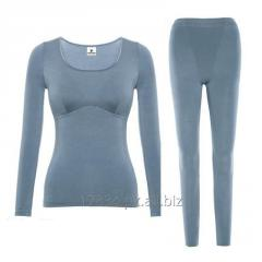 Womens thermal underwear set with built-in bra