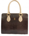 Dark Brown-Off White Crocodile Leather Short Double Strap Handbag (Size One size)