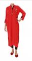 Modern Red Malai Lawn Eye Button Tunic 2013