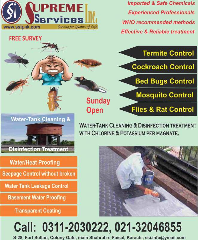 Order Insect Control, Fumigation & Water Tank Cleaning Services