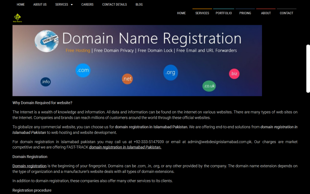 Domain registration and web hosting